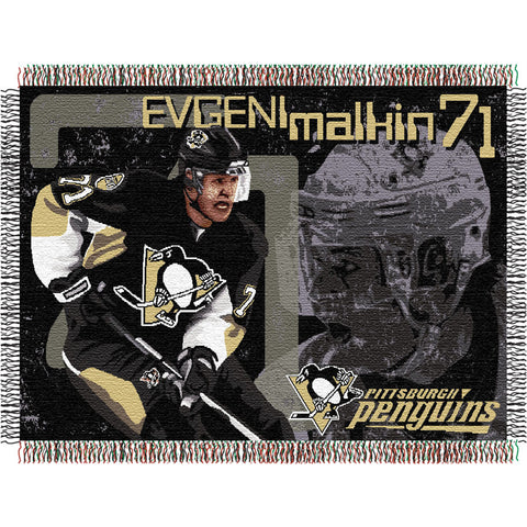 Evgeni Malkin #71Pittsburgh Penguins NHL Woven Tapestry Throw 48x60