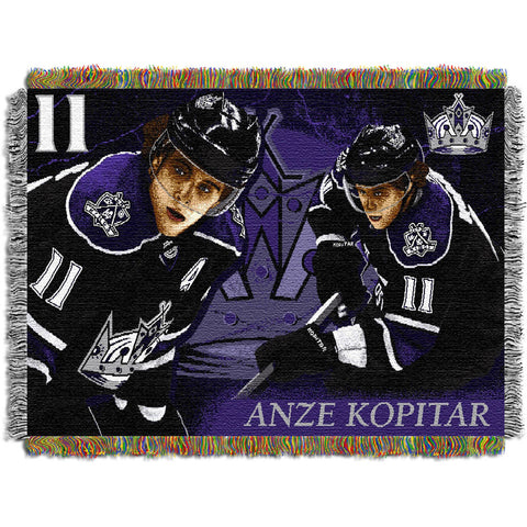 Anze Kopitar Los Angeles Kings NHL Woven Tapestry Throw 48x60