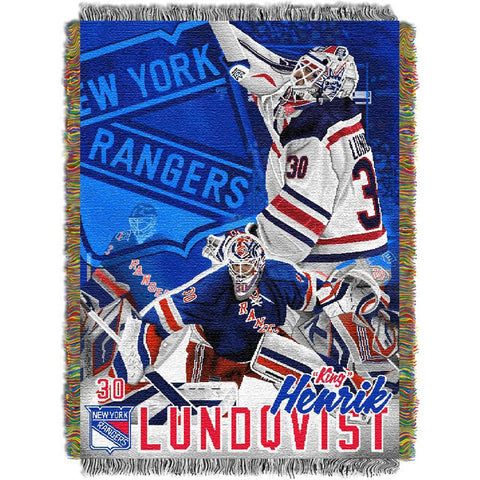 Henrik Lundqvist New York Rangers NHL Woven Tapestry Throw Blanket 48inx60in