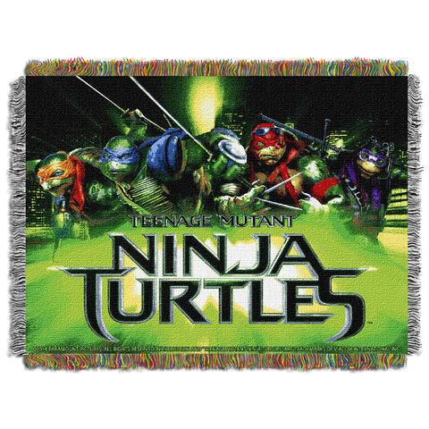 TMNT Movie Poster Triple Woven Jacquard Throw 48 x60