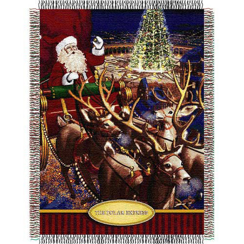 Polar Express Santa Flight Triple Woven Jacquard Throw 48x60
