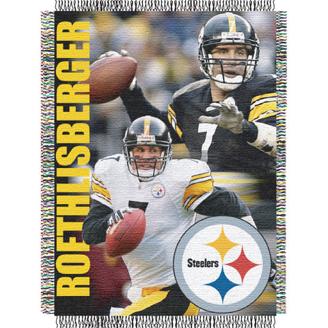 Ben Roethlisberger #7 Pittsburgh Steelers NFL Woven Tapestry Throw Blanket 48x60