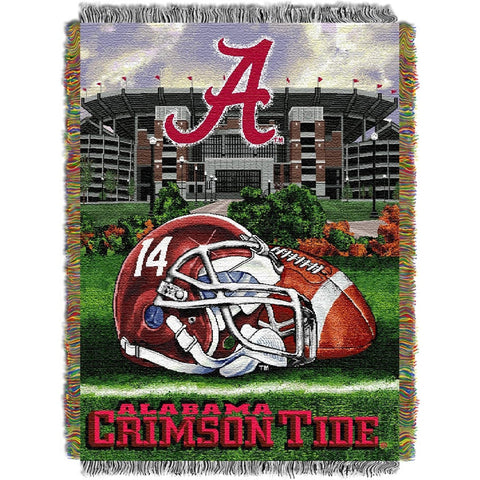 Alabama Crimson Tide NCAA Woven Tapestry Throw Home Field Advantage 48x60
