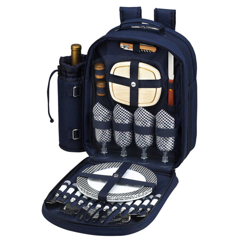 Bold Picnic Backpack for 4 Navy/White