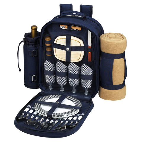 Bold Picnic Backpack wblanket for 4 NavyWhite