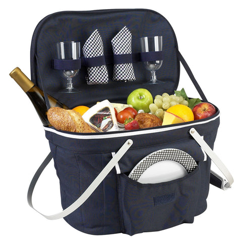 Collapsible Insulated Picnic Basket for 2 Navy