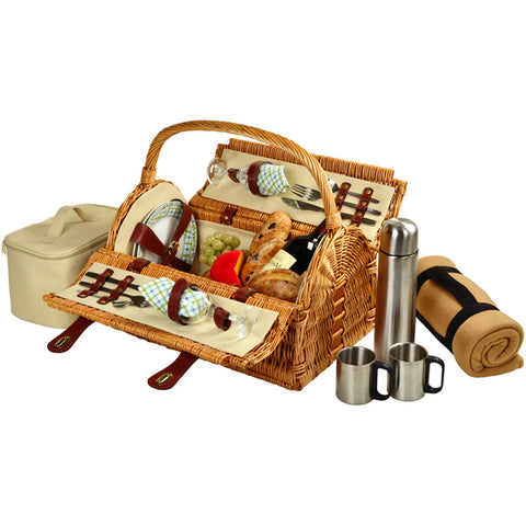 Sussex Picnic Bskt for 2 w/Blkt & Coffee Wicker/Gazebo