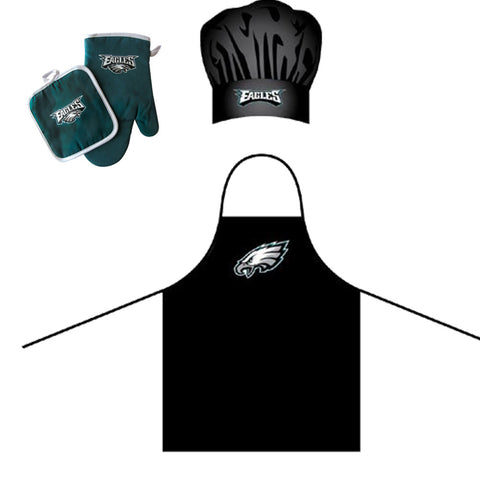 Philadelphia Eagles NFL Barbeque Apron, Chefs Hat and Pot Holder Deluxe Set