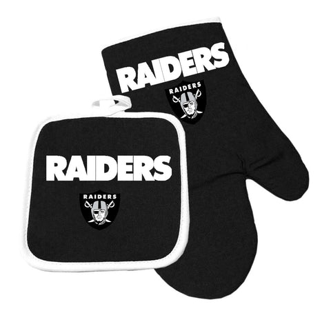 Oakland Raiders NFL Oven Mitt and Pot Holder Set