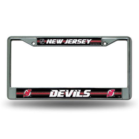 New Jersey Devils NHL Bling Glitter Chrome License Plate Frame