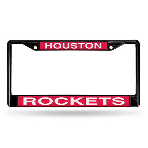 Houston Rockets NBA Black Chrome Laser Cut License Plate Frame
