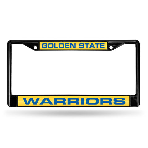 Golden State Warriors NBA Black Chrome Laser Cut License Plate Frame