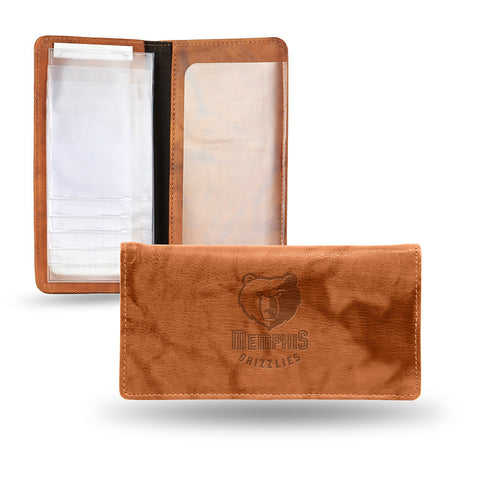 Memphis Grizzlies Embossed Checkbook Holder Pecan Cowhide