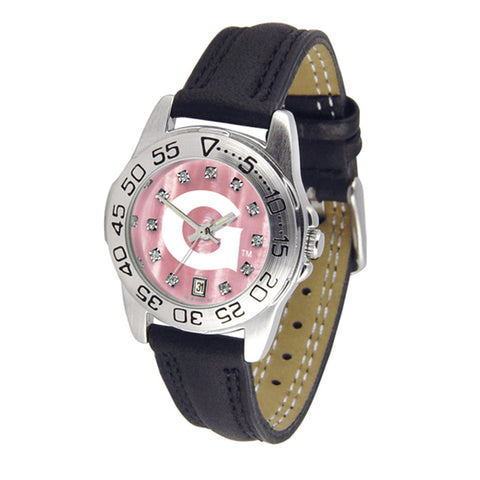 Georgetown Hoyas NCAA Mother of Pearl Sport Ladies Watch Leather Band