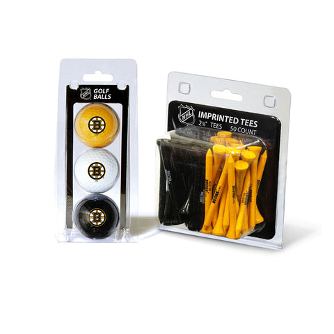 Boston Bruins NHL 3 Ball Pack and 50 Tee