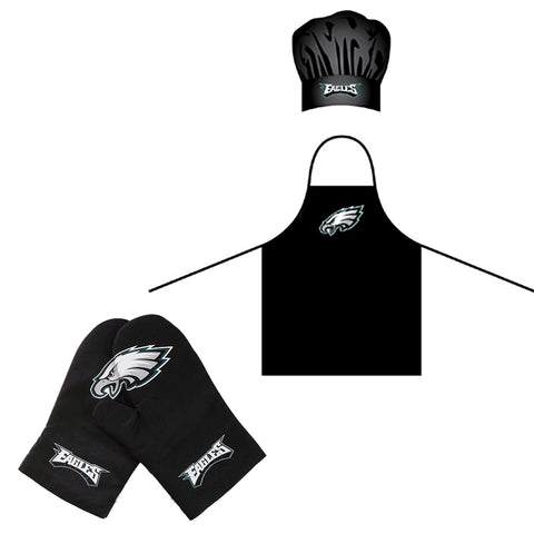 Philadelphia Eagles NFL BBQ Apron, Chef's Hat with Crossover Oven Mitts
