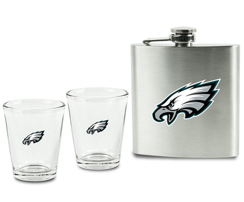 Philadelphia Eagles NFL Flask and Shot Glasses 3 pc Gift Set