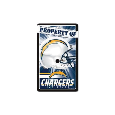 "San Diego Chargers NFL ""Property Of"" Plastic Sign (7.25in x 12in)"