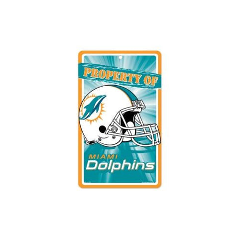 "Miami Dolphins NFL ""Property Of"" Plastic Sign (7.25in x 12in)"