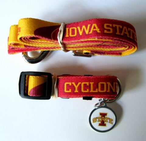 Iowa State Cyclones Pet Set Dog Leash Collar ID Tag LARGE