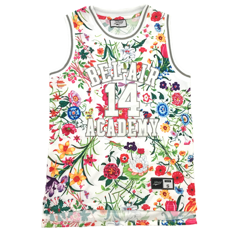 The Fresh Prince of Bel-Air Jersey Will Smith #14 White Floral Basketball Throwback Jersey