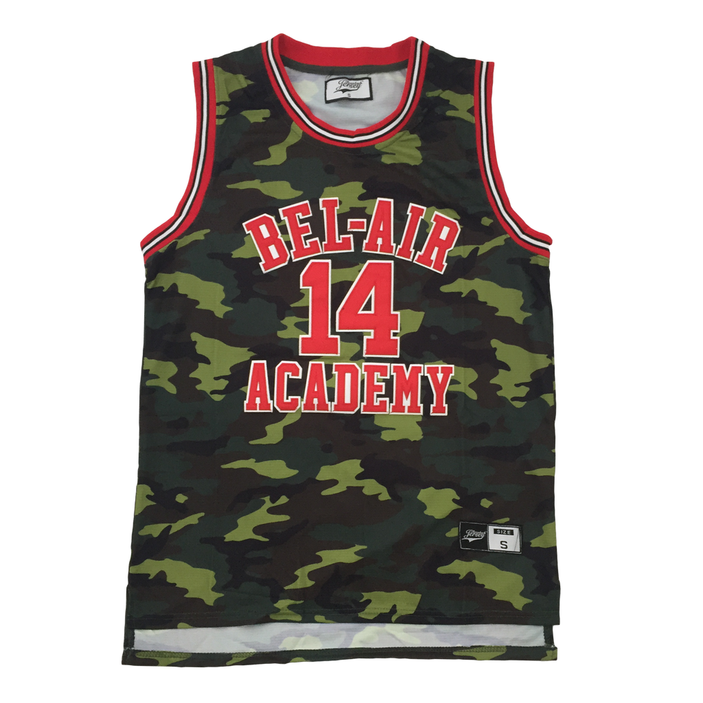 The Fresh Prince of Bel-Air Jersey Will Smith #14 Green Camoflauge Basketball Throwback Jersey