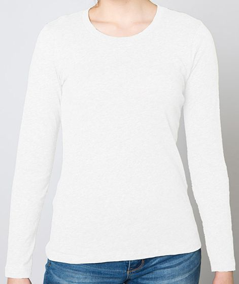 Passive Wear Tee - Women's 100% Cotton Long-Sleeve V neck T-shirt (7.5oz combed cotton)
