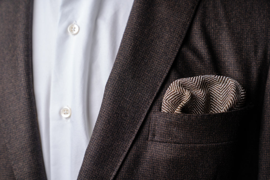 Handwoven Pocket Square, Alpaca/Linen/Wool Herringbone