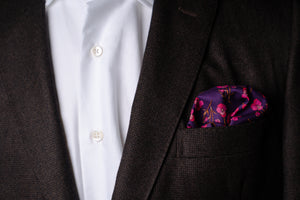 Pocket Square, Purple Floral Cotton