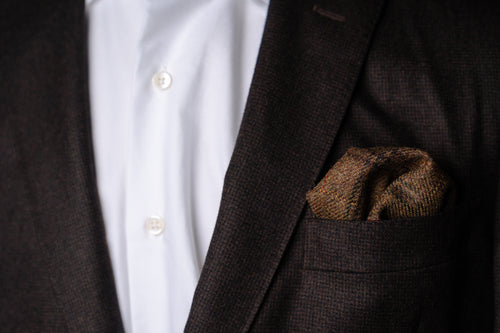 Pocket Square, Brown Plaid Wool Tweed