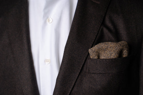 Pocket Square, Brown Wool Tweed Herringbone