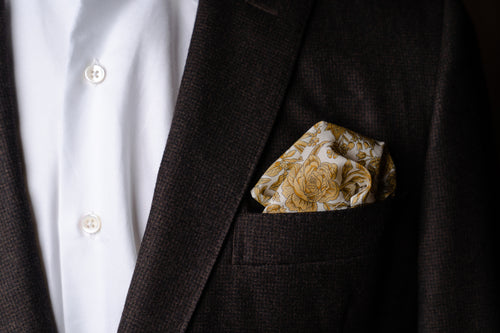 Pocket Square, Yellow Floral Cotton