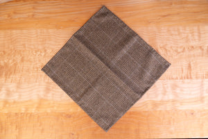 Large Pocket Square, Hand-Rolled, Brown Glen-Plaid Wool