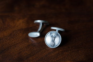 Solid Sterling Silver Cufflinks - Stag's Head