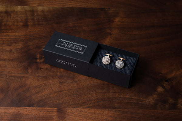 Solid Bronze Cufflinks - Hammered
