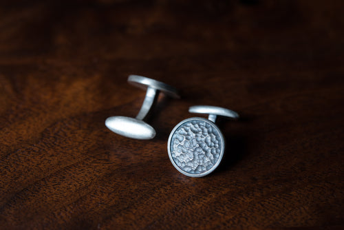 Solid Sterling Silver Cufflinks - Hammered
