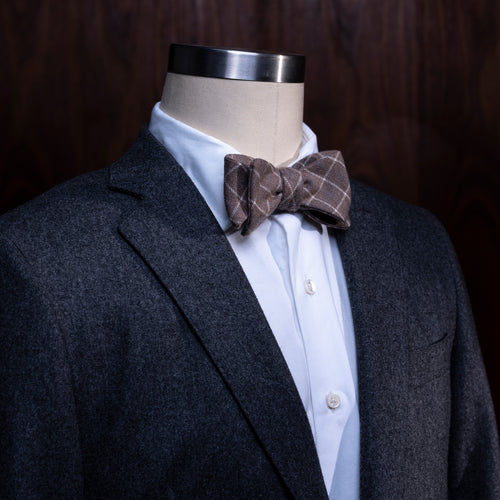 Handmade Wool Bowtie, Chocolate w/ Windowpane