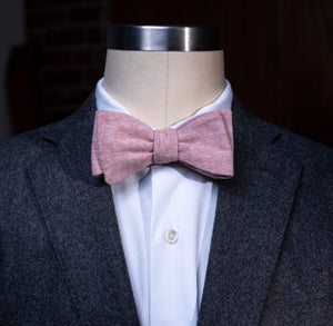 Handmade Cotton-Chambray Bowtie, Pink