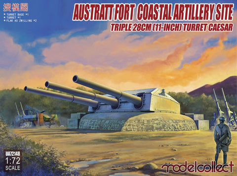 ModelCollect Military 1/72 Austratt Fort Coastal Artillery Site w/Triple 28cm 11-Inch Gun Turret Caesar Kit
