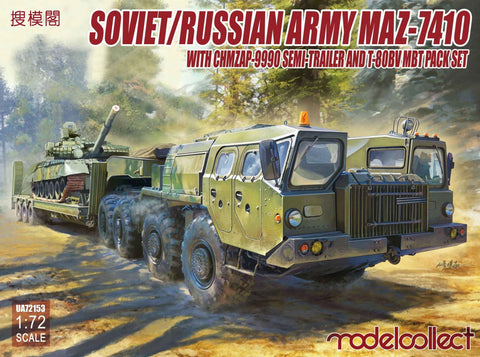 ModelCollect Military 1/72 Soviet/Russian Army MAZ7410 w/ChMZAP9990 Semi-Trailer & T80BV MBT Kit