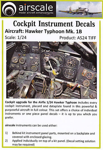 Airscale Details 1/24 Hawker Typhoon Mk 1B Instrument Panel (Decal)