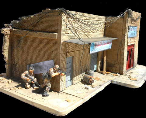 Dioramas Plus 1/35 Shorted Out in Iraq Ruined Building w/Sidewalks & Rubble Kit