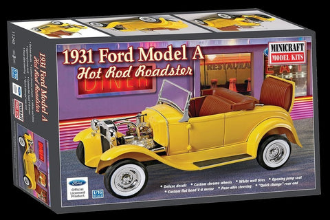 Minicraft Model Cars 1/16 1931 Ford Model A Hot Rod Roadster Kit