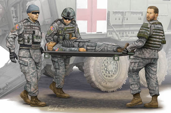 Trumpeter Military Models 1/35 Modern US Army Ambulance Team (4) w/Stretcher Kit