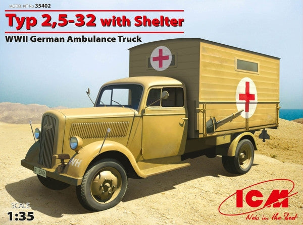 ICM Military 1/35 WWII German Type 2,5-32 Ambulance Truck w/Shelter Kit