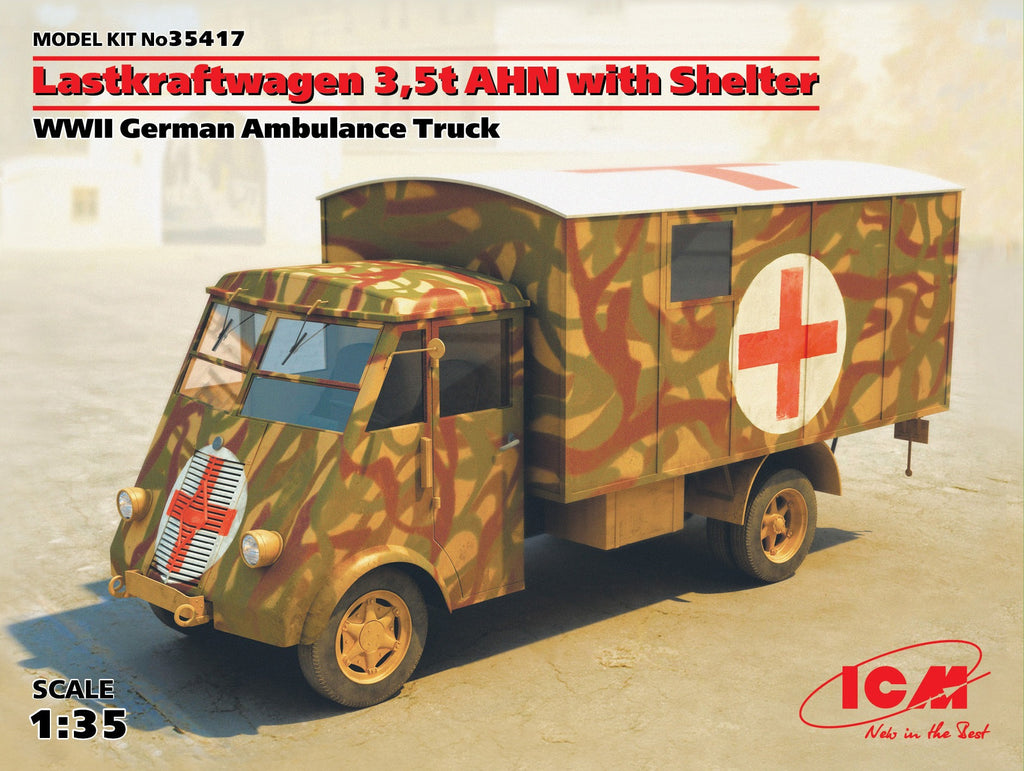 ICM Military 1/35 WWII German Lastkraftwagen 3,5t AHN w/Shelter Ambulance Truck Kit