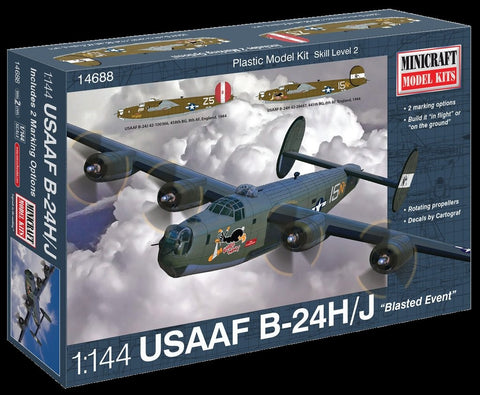 Minicraft Model Aircraft 1/144 B24H/J Blasted Event USAAF Bomber Kit