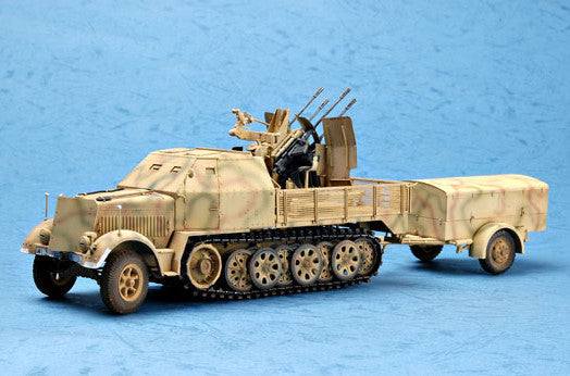 Trumpeter Military Models 1/35 German SdKfz 7/1 Halftrack Late Version w/2cm Flak 38 Gun & Supply Trailer Kit