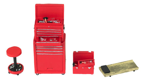 Motorhead 1/24 Tire Brigade Tool Set: Tool Chest, Box, Stool & Glider (Red)