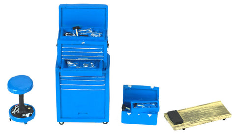 Motorhead 1/24 Tire Brigade™ Tool Set: Tool Chest, Box, Stool & Glider (Blue)